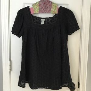 Odille Black Butterfly Sleeve Blouse